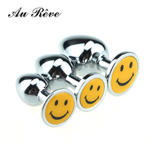 Buy AuReve 3 pics/set Small Medium Large Steel Butt Plug Fetish Anal Plug Smile Crystal Jewelry Anal Toys Adult Sex Products