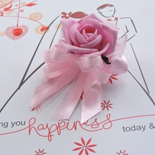 2PCS Handmade Boutonniere Prom corsage Artificial Rose Bride Wrist Flower Bracelet Wedding Church Decor Pink F128