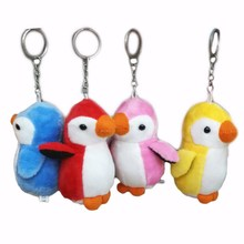 10CMx 40pcs Tiny Lovely Plush Penguin Cellphone Bag Key Chain Cartoon Stuffed Doll Toys Promotional Gift(China)