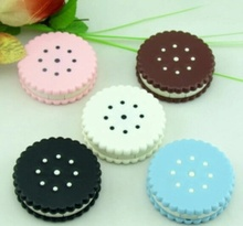 Amazing 7.6*7.6*2.2cm Cartoon Biscuit Shape Travel Cute Eye Contact Lens Case Box for Eyewear Accessories Candy Color