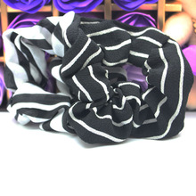 Hot Sale 2Pcs/lot Girl's Classic black and white stripes scrunchie Elastic Hair Bands Women's hair Rope Ponytail Holder headwear(China)