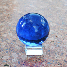 60mm Asian Rare Natural Quartz Crystal Sphere Crafts Blue Color Fashion Glass Ball DIY Home Decoration Good Luck Wedding Gifts(China)