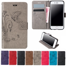 New For iPhone 6s SE 5S 7 6 Plus Leather Butterfly Flip Case For Samsung Galaxy S8 Plus S5 Neo S4 S6 S7 Edge Wallet Bags