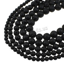 YYW Natural Lava Beads DIY Making Loose Round Stones Beads Beading Gifts Real Black Stones  Stone 6/8/10/12/14/16MM Lave Beads
