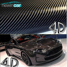 Free Shipping 200x50cm 4D Carbon Fiber Vinyl Film 3M Car Sticker Waterproof DIY Car Styling Color Wrap With Retail packaging
