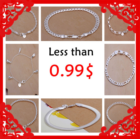 Losing money promotion Fashion 925 stamped silver plated fine bracelets 0.99$ 10 styles Factory Price Wholesale limited stock(China)