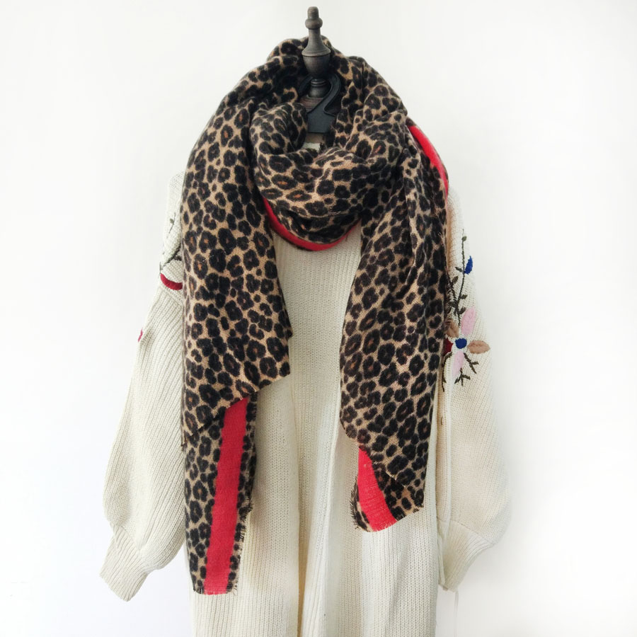 5096e9b06dcf4 New 2018 Winter Leopard Scarf Women Cashmere Warm Soft Red Scarves and  Shawls Ladies Fashion Thick Pashimina Foulard Femme Material Cashmere  Size 90 200cm