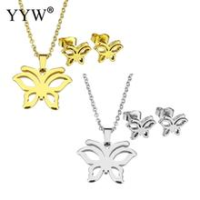 YYW Gold-color Stainless Steel Jewelry Sets Lovely Butterfly Animal Stud Earring Oval Chain Choker Pendant Chain Necklace woman
