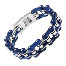 Heyrock Mens Bike Motorcycle Chain Bracelet of Stainless Steel Two-tone Polished Heavy Chunky Cuban Link Jewelry Gift(China)