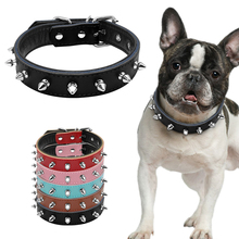 "1"" Wide Cool Spiked Studded Padded Leather Dog Collars For Small Medium Dogs Pitbull Terrier 11-17"" Adjustable S M L 5 Colors"