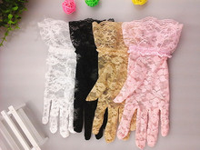 100Pairs/lot Fashion Party Driving Sexy Women Lady Lace Gloves Mittens Accessories Girl's Flower Side Sunproof Ritual Gloves(China)