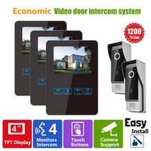 Homefong 4 Inch Black Video Door Phone System  With LCD Door Monitor and Video Doorbell Camera  For Home Appartment Office