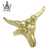 High Quality 2017 New Arrival Fashion Vintage Punk Gold Color Cow Bull Skull Rings For Women Men Jewelry Cool Animal Ring Gift