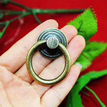 46mm Vintage Cabinet Drawer Hardware Drop Ring Handles Knobs Bronze Tone Retro Furniture closet Door pull Handles