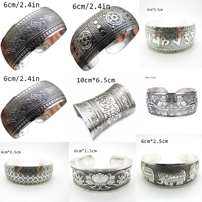 Antique Tibetan Carving Cuff Bracelets Vintage Style Tibetan Bangle Jewelry For Women Fashion Antique Silver Bohemian Bangles