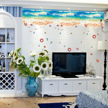 3d Sand Beach Wall Sticker Blue Sea Wave Floor Stickers Shell Kitchen Cabinet Decoration Living Room DIY Wallpaper Home Decal