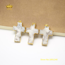 5pcs White Druzy Agates Cross Shape Pendants Jewelry,Plated Golden Edged Natural Drusy Raw Crystals Charms DIY Necklace GH175(China)