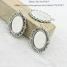 Sweet Bell Free Shipping 40pcs/lot Antique silver Tone Oval filigree Frame Cameo Settings 22*30mm (Fit 13*18mm) D0775(China)