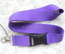 Free  shipping  10pcs purple Solid  Blank neck Lanyard for ID Key chain Cell Phone, Neck Strap Lanyards ch-14