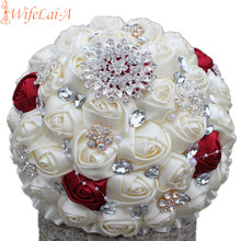 WifeLai-A Discount Price Beaded Brooch Cream Bride Bridal Wedding Bouquet Bridesmaid Wine Red Ivory Artificial Flowers PL001-1(China)