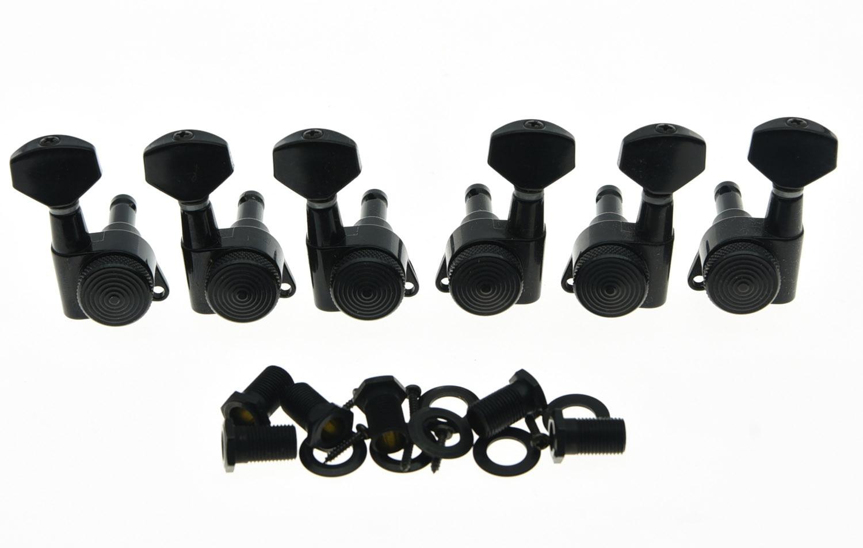 KAISH 3L3R Locking Tuning Keys Guitar Tuners Pegs Machine Heads Black<br>