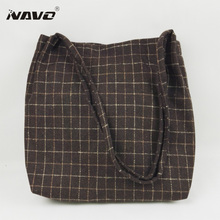 Women Woolen Cloth Handbag Winter Shoulder Bags Plaid Tote Bag Japanese Korean Style Foldable Shopping Bag