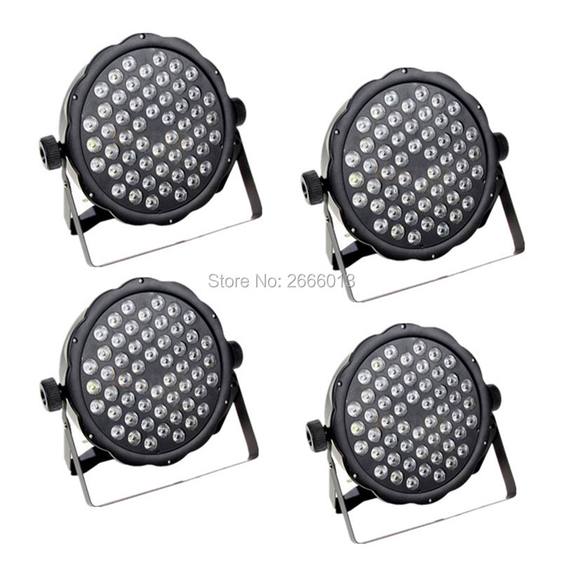 4pcs/lot 54X3W LED Flat Par Light Stage Lamp RGBW Colorful Romantic Party Stage DJ Lighting Auto /Sound Operation stage lighting<br>