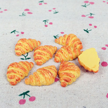 10Pieces Flatback Flat Back Kawaii Resin Cabochon Miniature Food Croissant Bread DIY Resin Craft Decor Embellishment :17*27mm(China)