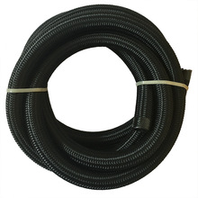 Evil Energy-5M AN12 Nylon Black Oil Hose Line Cotton Over Braided Stainless Steel Racing Fuel Hose Line Oil Cooler Hose End