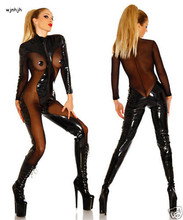 Buy Fashion women Sexy Spandex Latex Catsuit Erotic Leather mesh Catsuit lingerie dress Women Latex Catsuit Clothing S-XXL