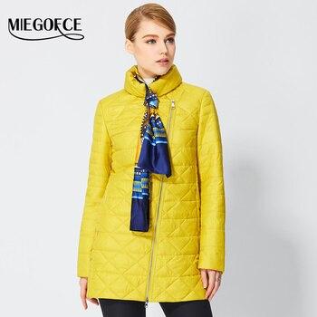 Miegofce 2017 primavera cortaviento mujer parkas chaqueta de algodón acolchado fino tapeta oblicua de las mujeres acolchado escudo del collar del soporte de nueva