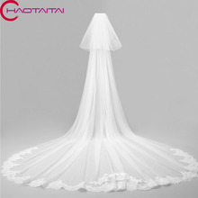 2017 White Direct Selling Wedding Veils Long cathedral Bride Lace For Dress Accessories Veil 2 Layers 3 meters With Comb