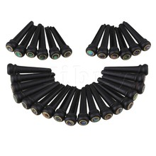Yibuy 30 x Acoustic Guitar Black Ebony Abalone Dot Brass Circle Bridge End Pins(China)