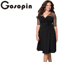 Gosopin Brand New Autumn Dress Plus Size XXL Women Clothing Short Sleeve Large Size Sexy Dress Black Party Nightclub LC60671(China)