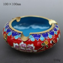 Beijing China wind technology gift fetal copper filigree Enamel Cloisonne ashtray office Home Furnishing red
