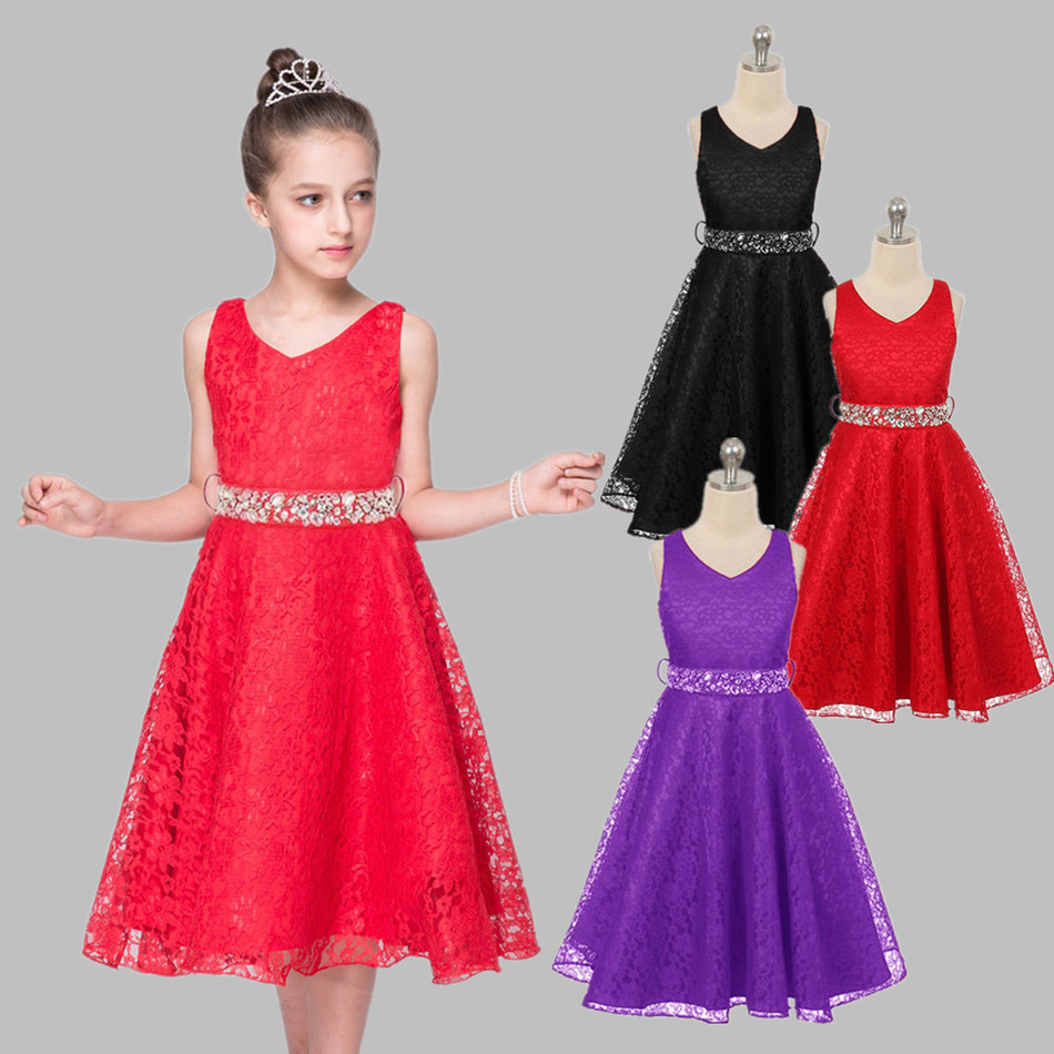 Girls party wear clothing for children summer sleeveless lace princess wedding dress girls teenage well party prom dress 6colour<br><br>Aliexpress