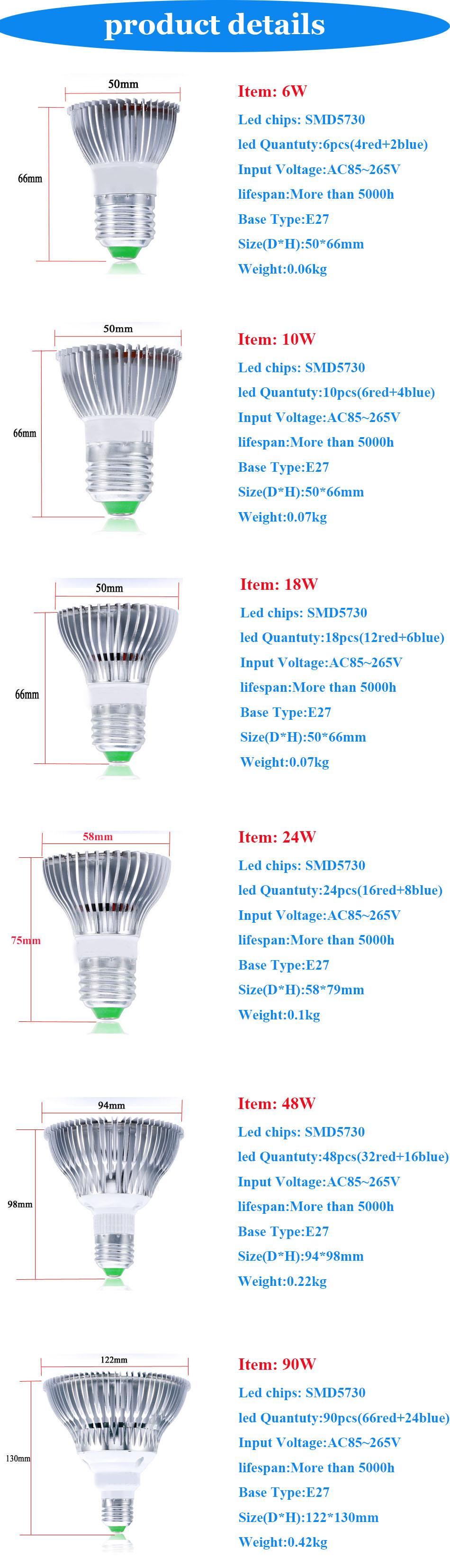 Grow Led Fitolampa Plant light  LED Grow Light E27 6W 10W 18W 24W 48W 90W Plant Light Bulb for  Plants Hydroponics AC85-265V AE