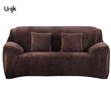Urijk 1PC Stretch Furniture Covers Loveseat Sofa Cover Flannel Slipcovers for One Two Three Four Seats Sofa Covers Living Room(China)