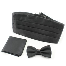 Retail High quality  Men Satin Solid Color Bowtie cummerbund   Handkerchief Pocket Square Set