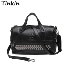 Buy Tinkin Patchwork Women Messenger Bag Fashion Rivet PU leahter Top-handle Bag Vintage Women Tote Larger Female Shoulder Bag for $18.99 in AliExpress store
