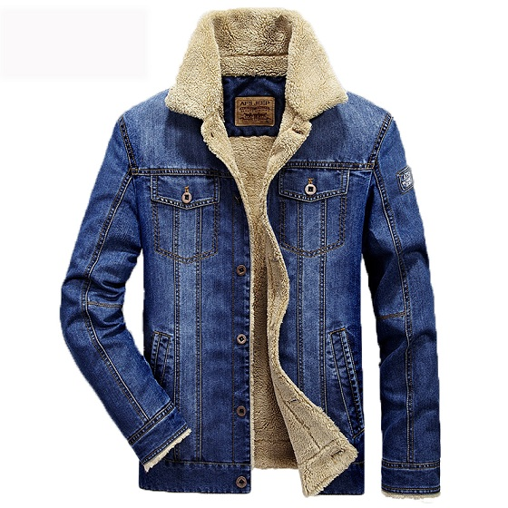 Men casual retro denim jackets coat warm winter fur regular fit jeans jackets men sherpa lined trucker denim bomber jackets 4xl1