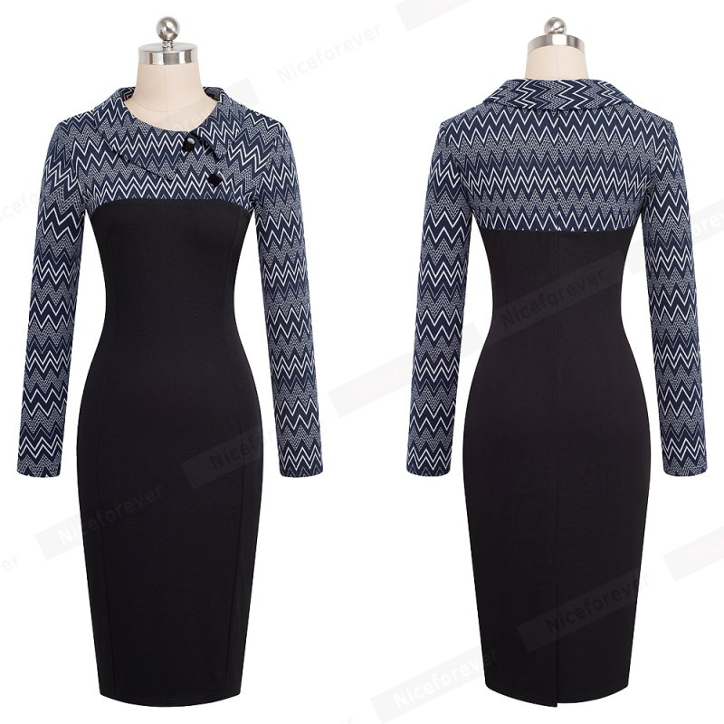 Nice-forever Elegant Vintage Fitted winter dress full Sleeve Patchwork Turn-down Collar Button Business Sheath Pencil Dress b238 12