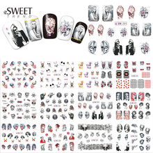 1Sheet Halloween Nail Art Water Transfer Stickers Beauty Full Wraps Skull Pattern Nail Tips Decals Manicure Decor LABN193-204