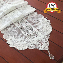 Ship Free 1PC Luxury Embroidered Lace Table Runners Home Hotel Party Event Wedding Decoration Modern Pure White Table Runners