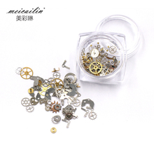 1Box Gear DIY Nails Rhinestones Ultra-thin Punk Style Studs 3D Nail Art Decorations Wheel Nails Suplies Gold Steam Machine Tool(China)