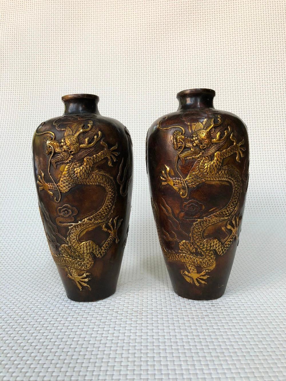 VintageAntique Chinese Hamndmade Flower Pattern Copper Cloisonne Band Ring 5 Pcs