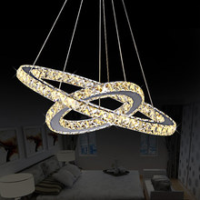 DIY LED Pendant Lamp Diamond Ring Crystal Hanging Fixtures Pendant Lamp Circles for Dining Room or Living Room