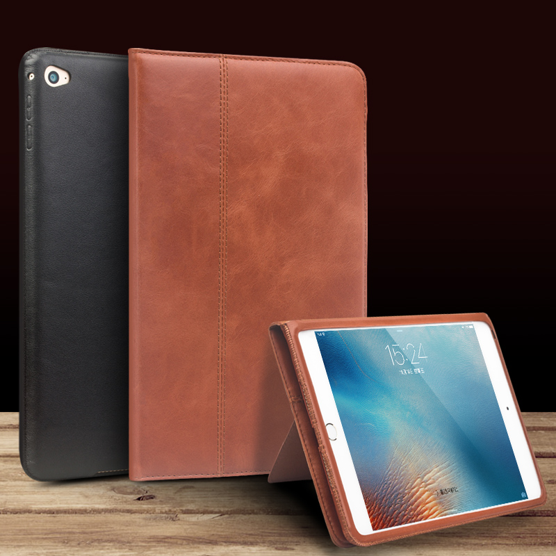 QIALINO luxury Genuine Leather smart stand flip cover for iPad mini 4 case Flip Stents Automatic wake up &amp; sleep function Case<br>
