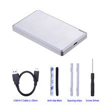 Single bay 2.5 inch sata to USB3.1 Type-c external hdd enclosure with CNC aluminum casing with 10Gbps hdd case(China)