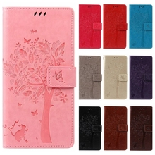 Leather case for coque LG Spirit 4G LTE C70 H420 H422 H440N Case Cover for coque LG C70 Tree Mobile Phone bags+card holder(China)